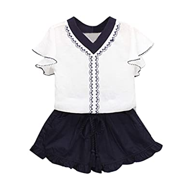 72bac53ba6a YUAN Toddler Kids Baby Girls Outfits Clothes Embroidery T-Shirt+Ruffles  Shorts Set Navy Pink Winter Romper Animal Flannel Pyjamas  Amazon.co.uk   Clothing