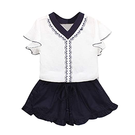 743a1cf24b3 Elegant Little Girls 2 Pieces Summer Holiday Clothes Sets Ruffles Short  Sleeve V-Neck Embroidery