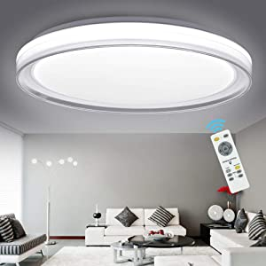 DLLT 48W Ceiling Light Fixture Industrial, Dimmable Modern Flush Mount Lighting with Remote Control Bright for Living Room, Bedroom, Kitchen, Dining Room, Office, Hotel 3-Light Changeable