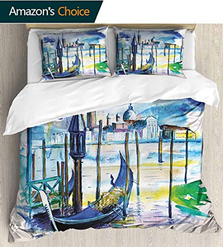 - shirlyhome Landscape Bedspread Set Queen Size,A View with Boat in Venice Italy Landmark Seascape Scenic Watercolor Paint Kids Bedding-Does Not Shrink or Wrinkle 87