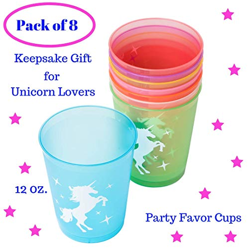 Unicorn Party Cups Keepsake Decorations - Unicorn Gifts for Girls - Unicorn Birthday Party Favor for Kids| Rainbow Plastic 12 Oz| Pack of 8| Unicorn Theme Party Supplies Set for Baby Shower