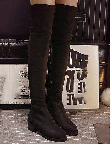 Punta De Negro us8 Cn39 Tacones Uk6 Xzz Vestido Tacón Zapatos Plataforma Botas Vellón Robusto Black Redonda Mujer Eu39 05qqxRwp4