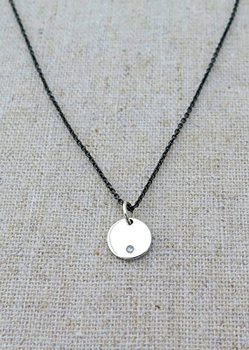 Silver Disc Necklace Sterling Silver Circle Necklace Dainty Necklace Simple Necklace Layering Necklace Silver coin Necklac ()