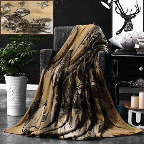 Unique Custom Double Sides Print Flannel Blankets War Vintage Hand Drawn Image From World Soldiers In Mask Iconic Battle Theme Brown Super Soft Blanketry for Bed Couch, Throw Blanket 60 x 50 Inches