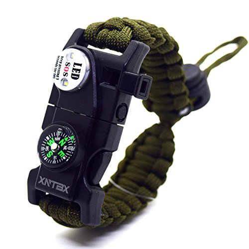 Survival Paracord Bracelet - Survival Gear Kit with SOS LED Light, Compass, Fire Starter, Whistle, Scraper, Emergency Knife - by XNTBX - Wilderness Survival-Kit For Hiking/Camping (Green)