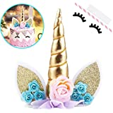 Unicorn Cake Topper with Eyelashes Party Cake Decoration Supplies for Birthday Party, Wedding, Baby