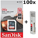 100 PACK - SanDisk Ultra 16GB Class 10 SDHC UHS-1 Memory Card up to 48MB/s - SDSDUNB-016G LOT OF 100 with USB 2.0 MemoryMarket dual slot MicroSD & SD Memory Card Reader