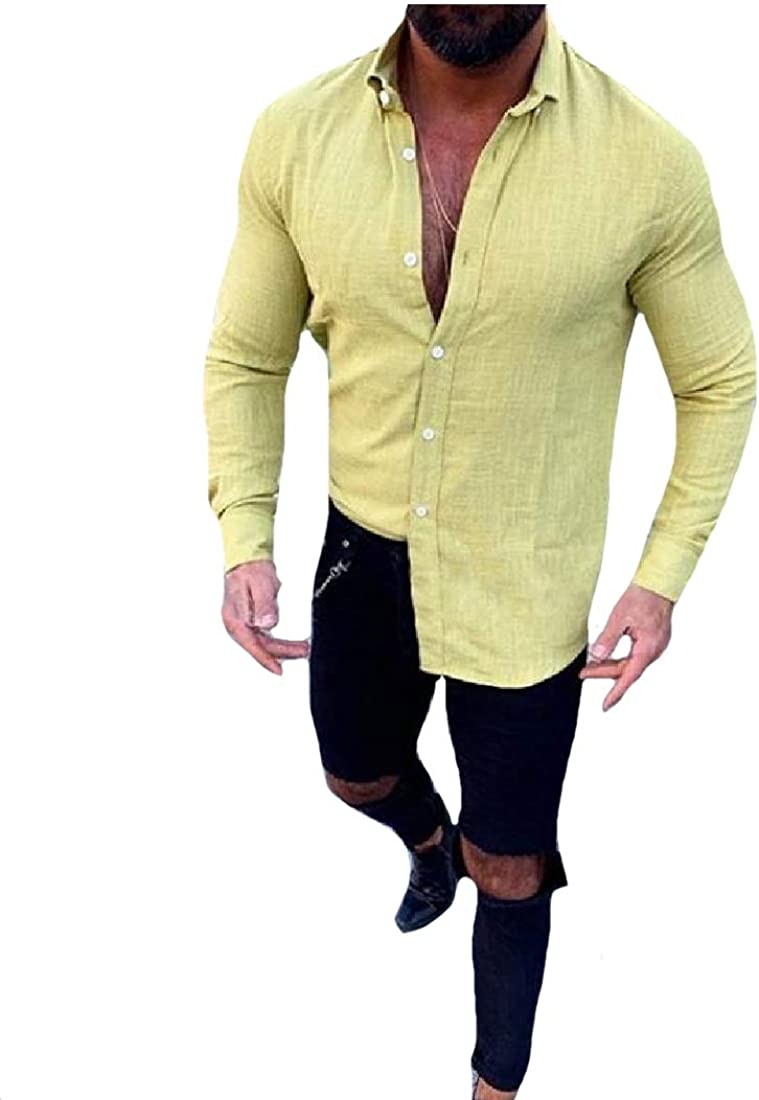 RDHOPE-Men Pure Color Long-Sleeve Relaxed Button Plus Size Western Shirt