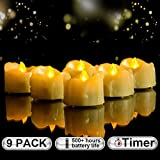 #2: Beichi Battery Operated Tea Lights with Timer, Flameless Tealights Flickering, Small Fake Candles in Warm Yellow, LED Tea Candles with 500 Hours Battery Life - Dia1.5, Wax Dripped, 9 Pack