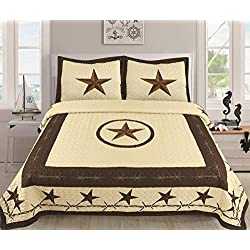 Western Bedding Set – Lone Star Barbed Wire Bedspread Kit – Set of 3 Pieces Duvet & Pillow Cases – Soft and Comfortable Quilt Bedspread – for King & Queen Size Bed (Desert Beige, Oversize Queen)