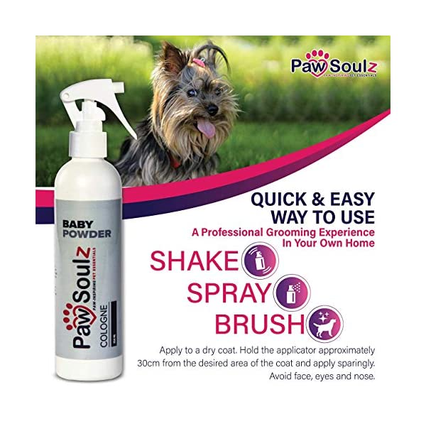 Paw Soulz Premium Dog Cologne Baby Powder - Long Lasting Dog Deodoriser Spray - Contains Aloe - Replenish Skin & Coat - Hypoallergenic - Natural Conditioner Perfume for Dogs & Puppies 4
