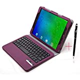 Samsung Galaxy Tab S2 9.7 Keyboard case, KuGi ® High quality Ultra-thin Detachable Bluetooth Keyboard Stand Portfolio Case / Cover+ Free stylus & OTG cable for Samsung Galaxy Tab S2 9.7 tablet. (Purple)