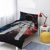 Astronaut 2 Piece UK Single/US Twin Sheet Set, 1 x Double Sided Sheet and 1 x Pillowcase