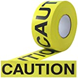 ProTapes Barricade Ribbon Polyethylene Non-Adhesive Tape, 3 mil Thick, 1000' Length x 3'' Width, Yellow with Black Print (Pack of 1)