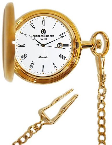 Charles-Hubert, Paris Gold-Plated Quartz Pocket Watch