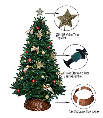 ABUSA 7.5 ft Multicolor PE Mixed Pine Christmas Tree Prelit 600 UL Warm White Strawberry LED String Lights Metal Stand (Christmas Tree Trunk Too Soft For Stand)