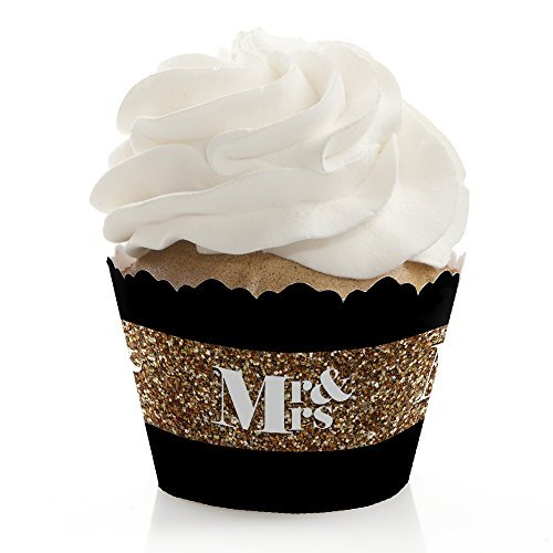 Mr. & Mrs. - Gold - Wedding Decorations - Party Cupcake Wrap