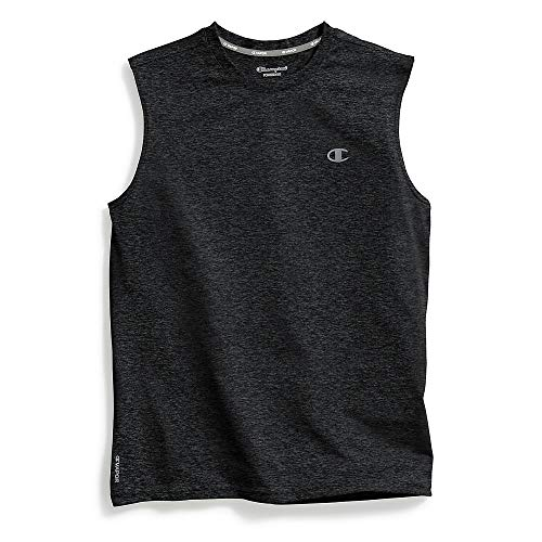 Tank Duo - Champion Men's Double Dry Heather Muscle Tee, Black Heather, X-Large