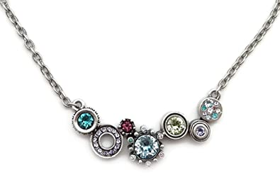 patricia locke waterlily multi color rikki tikki tavi swarovski crystal silver plated necklace