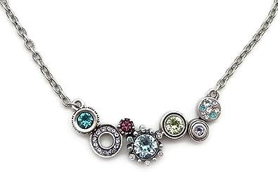 patricia locke waterlily multi color rikki tikki tavi swarovski crystal silver plated necklace