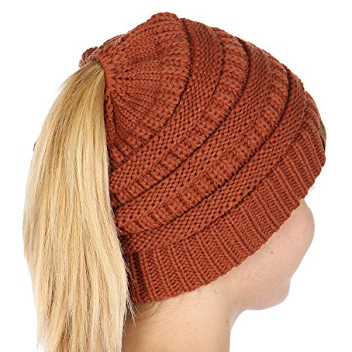 (Plum Feathers Beanie Tail Soft Stretch Cable Knit Messy High Bun Ponytail Beanie Hat (Rust))
