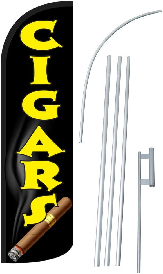 CIGARS 12-foot SUPER Swooper Feather Flag With Heavy-Duty 15-foot Pole and Ground Spike NEOPlex