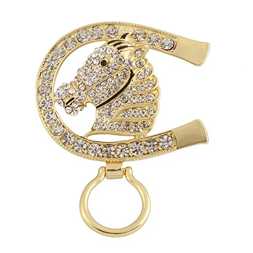 BEICHUANG Crystal Animal Horse Head U Shape Horseshoe Magnetic Eyeglass Holder Fashion Brooch Pin (Horseshoe Horse Head)