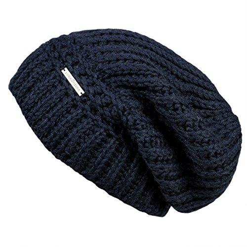 Baby Alpaca Beanie Hat (LUNA & TERRA - ANCONA Hat Beanie Hand Knitted 100% BABY ALPACA (Navy Blue))