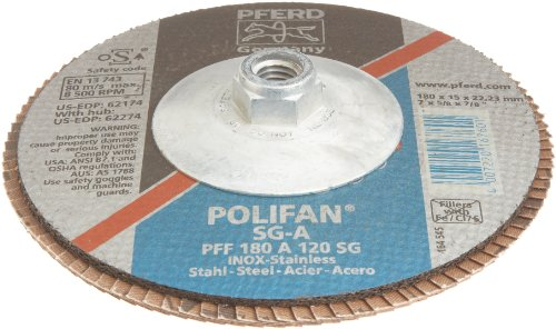 PFERD Polifan SG Abrasive Flap Disc, Type 27, Threaded Hole, Phenolic Resin Backing, Aluminum Oxide, 7'' Dia., 120 Grit (Pack of 1) by Pferd (Image #2)