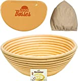 dough liner - 9 Inch Banneton Bread Proofing Basket - Sourdough Proving Baskets w/Bowl Scraper, Brotform Cloth Liner, Starter Recipe for Baking - Making Round Dough w/Rising Bannetons Banetton Benneton Proof Set