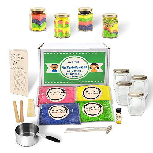 Kids Candle Making Kit- Make 4 Scented Granulated Wax Candles- Complete Beginners Set - Great for Parties, STEM Kits, Kids Crafts ()