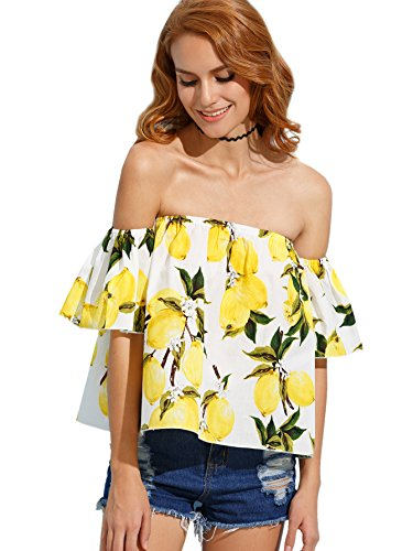 Floerns Women's Casual Print Off Shoulder Flare Sleeve Top Loose Blouse Yellow S
