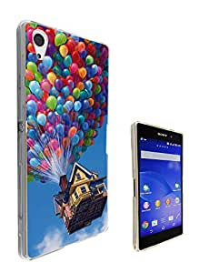 038 - Cool Funky UP Flying house with balloon Design Sony Xperia Z1 Fashion Trend CASE Gel Rubber Silicone All Edges Protection Case Cover