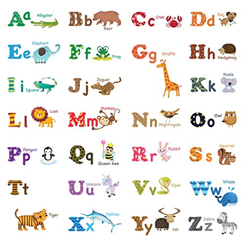 Decowall DW-1308 Alphabet ABC and Animals Kids Wall Decals W