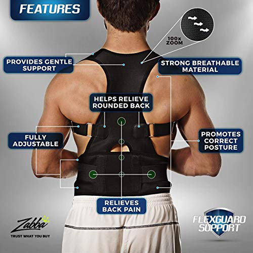 Back Brace Posture Corrector - Best Fully Adjustable Support Brace - Improves Posture and Provides Lumbar Support - for Lower and Upper Back Pain - Men and Women (Small/Medium