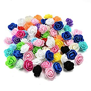 Fake flower heads in bulk Wholesale for Crafts PE Foam Mini Roses Head Artificial Flowers DIY Party Birthday Home Decor Wedding Decoration for Scrapbooking Gift Box DIY Wreath 50pcs 3CM 36