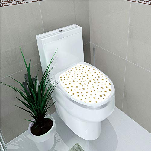 Toilet Cover Decoration,Star,Golden Stars Pattern Illustration Creative Stylish Birthday Bachelorette Theme Print,Gold White,3D - Stylish Stars Rhinestones Cover