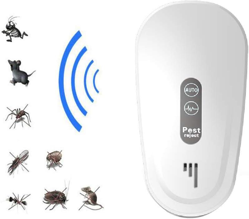 Repelente De Plagas Ultrasónico Control De Plagas Enchufable Natural Electromagnético Interior, Elimina Todo Tipo De Insectos Y Roedores, 100% Seguro Para Humanos Y Mascotas,Blanco