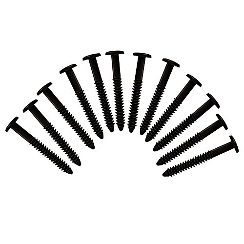 (Black) Pack of 12 Vinyl Shutter Fastener Spike Loks for Installing Decorative Exterior Vinyl ()