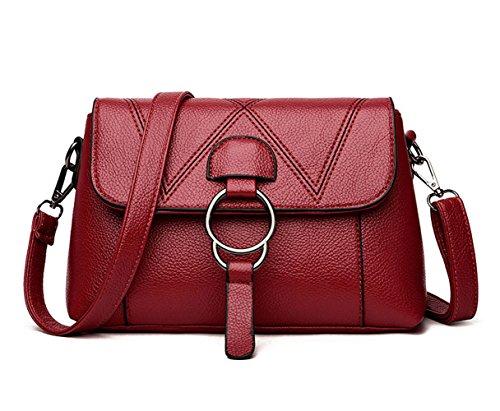 Handle Cross Bags Leather Top Bags Burgundy Women's Shoulder Body Bags Handbags Faux znqZdvZax