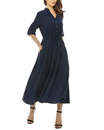 95f1fc0f15f Mixfeer Womens Loose Casual Linen Shirt Dress Roll Up Sleeve Long Maxi Dress