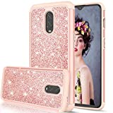 LeYi OnePlus 6T Case, OnePlus 6T McLaren Case for Girls Women, Bling Glitter Sparkle Dual Layer Hybrid Shockproof Protective Phone Case for OnePlus 6T 2018 TP Rose Gold