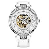 BUREI Women's Skeleton Automatic Watch with Gold Dial and White Calfskin Leather Strap (White)