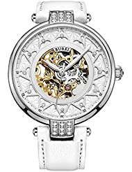 BUREI Womens Skeleton Automatic Watch with Gold Dial and White Calfskin Leather Strap (White)