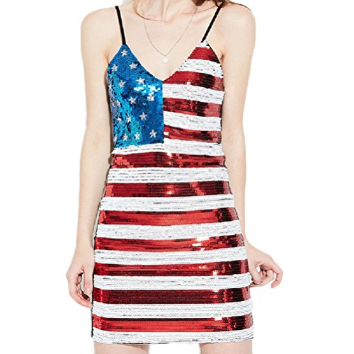 Fancy Apparel Sexy V-Neck Sleeveless Stars Stripes Sequin Bodycon Adjustable Strap Mini (Stars And Stripes Dance Costumes)