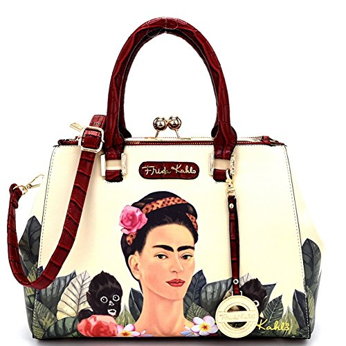 Frida Kahlo Jungle Series, Kiss-lock Satchel Handbag (Red) ()