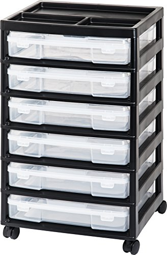 IRIS 6-Drawer Scrapbook Cart with Organizer Top, Black]()