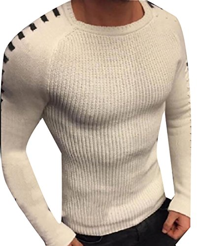 Blend Striped Crewneck Sweater (Zago Mens Stylish Crewneck Knit Long Sleeve Striped Patchwork Pullover Sweater White S)