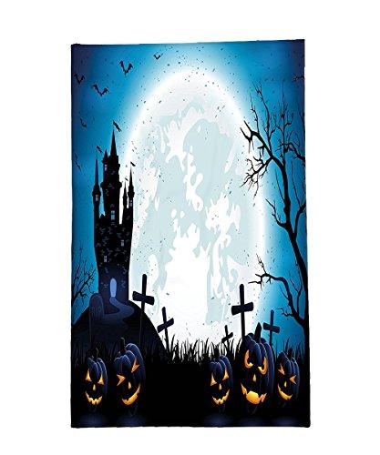 Abstract Concept Halloween Costume (Interestlee Fleece Throw Blanket Halloween Decorations Spooky Concept with Halloween Icons Old Celtic Harvest Festival Figures in Dark Image Blue)