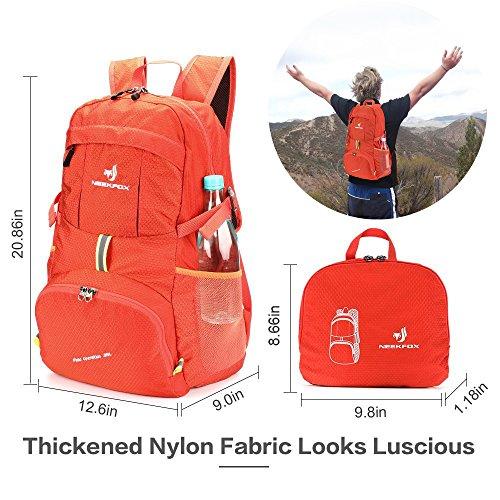 NEEKFOX Lightweight Packable Travel Hiking Backpack Daypack,35L Foldable Camping Backpack,Ultralight Outdoor Sport Backpack (03.Orange) by NEEKFOX (Image #1)